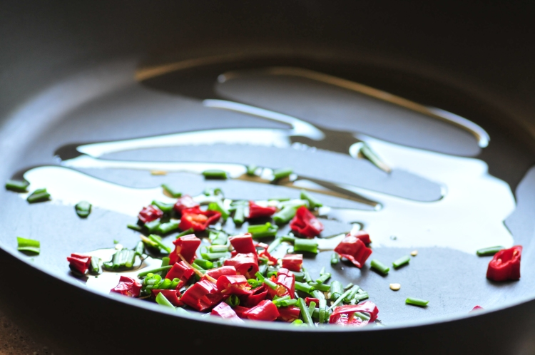 chilli and spring onion cooking